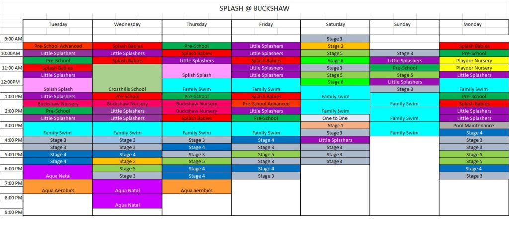 Splash Timetable